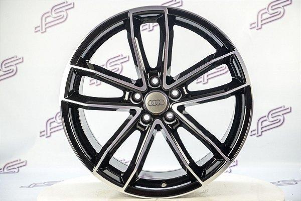 Jogo De Rodas Audi S5 Preto Diamantado 5x112 - 19x8 (Com Pneus)