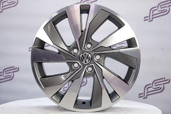 Jogo De Rodas VW Polo 2018 Original Grafite Diamantada 5x100 - 16x6