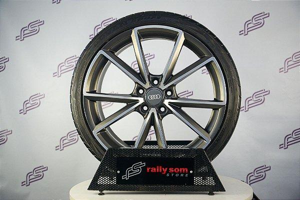 Jogo De Rodas Audi RS4 Grafite Diamantado Fosco 5x112 - 19x8,5 (Com Pneus)