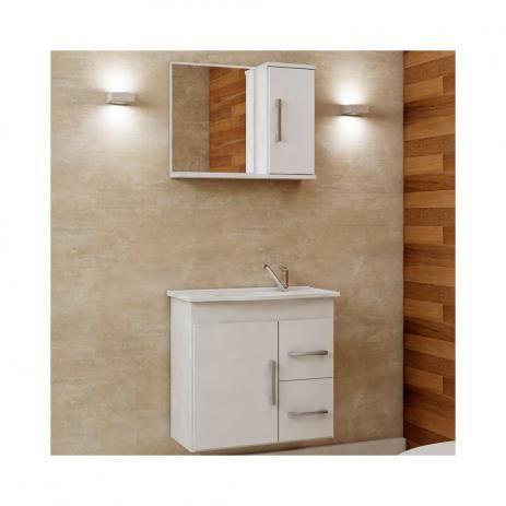 Gabinete de Banheiro 1 Cuba 1 Espelheira 2 Portas 2 Gavetas Vix MGM Móveis Branco