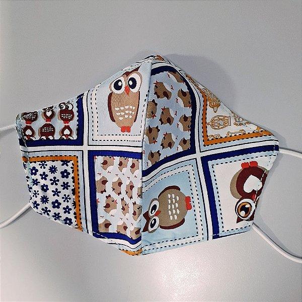 Mascara para prevenção de tecido duplo 100% algodão Corujinha