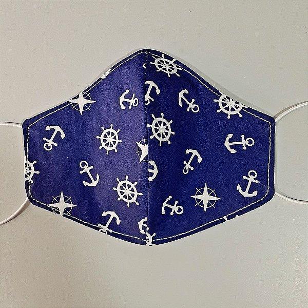 Mascara para prevenção de tecido duplo 100% algodão Naval Azul