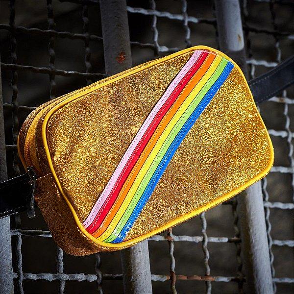 Pochete Arco-íris Dourado Glitter