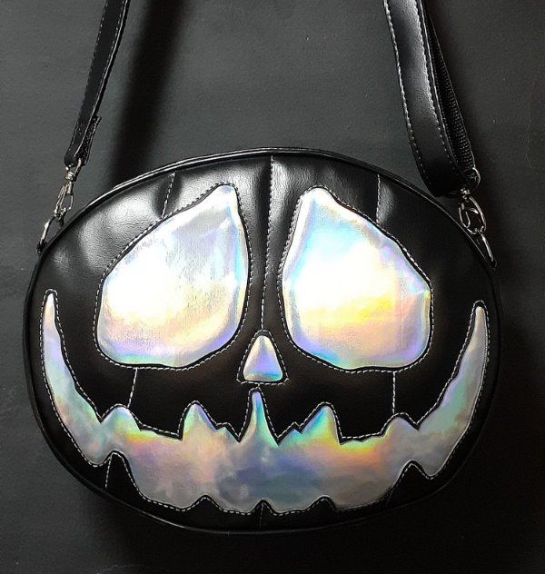 Bolsa Nara Prado Abóbora Halloween Black Holographic Monster