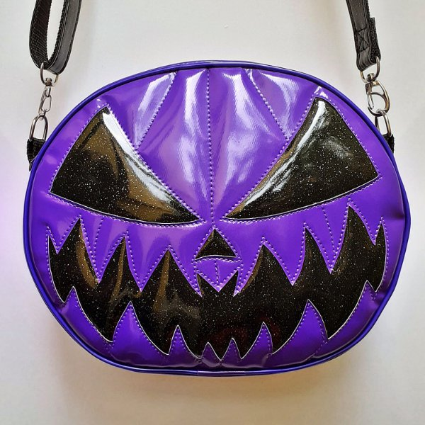Bolsa Nara Prado Abóbora Halloween Roxa e Preta