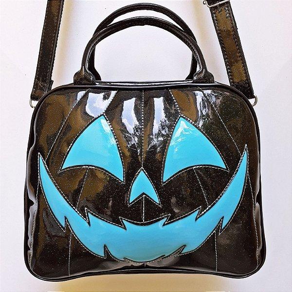 Maleta Nara Prado Abóbora Halloween Preta e Azul