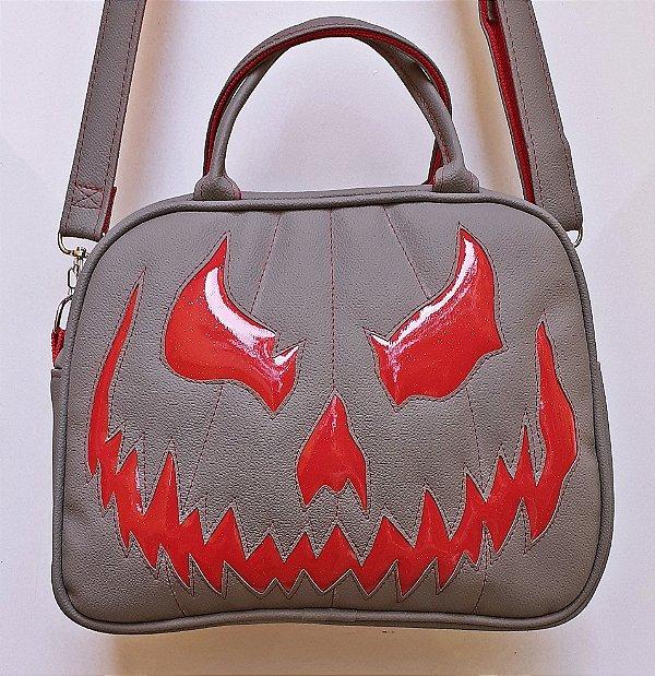 Maleta Nara Prado Abóbora Halloween Cinza e Vermelha