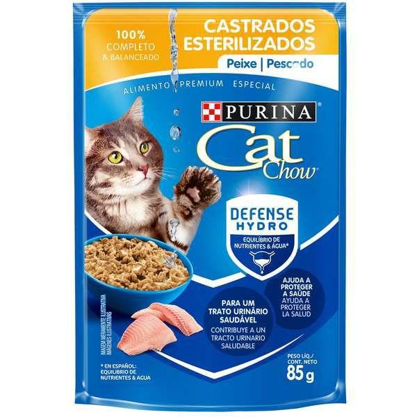 Ração Úmida Nestlé Purina Cat Chow Sachê Castrados Peixe ao Molho7891000244036