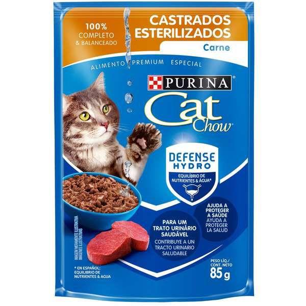 Ração Úmida Nestlé Purina Cat Chow Sachê Castrados Carne ao Molho