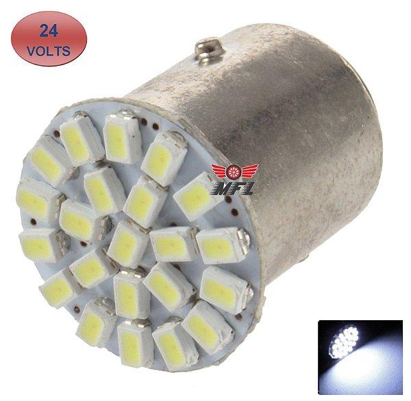 LAMPADA 22 LED BA15S 1 POLO P21W 1156 1141 BRANCO 3014 24V