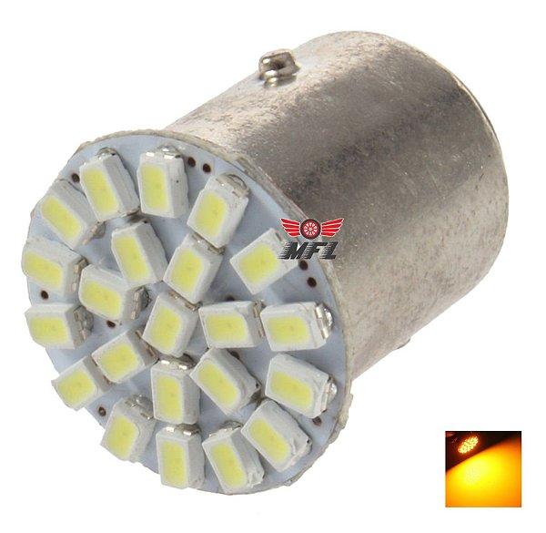 LAMPADA 22 LED BA15S 1 POLO P21W 1156 1141 LARANJA 3014 12V