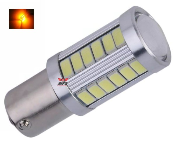 LAMPADA 33 LED CREE BA15S 1 POLO P21W 1156 1141 LARANJA 12V