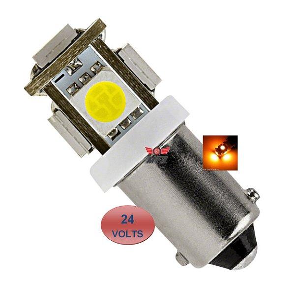 LAMPADA BA9S 5 LED T4W 69 AMARELO 24V