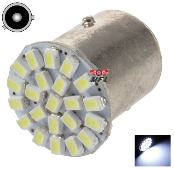 LAMPADA 22 LED BAU15S 1 POLO PY21W 1056 3014 BRANCO 12V