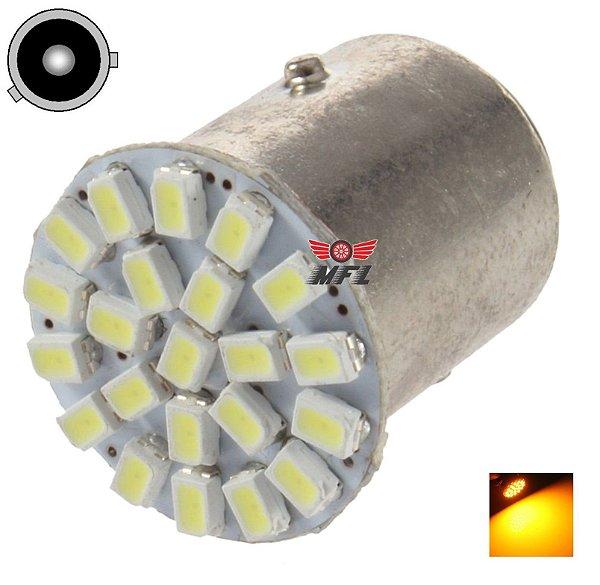 LAMPADA 22 LED BAU15S 1 POLO PY21W 1056 3014 LARANJA AMBAR 12V