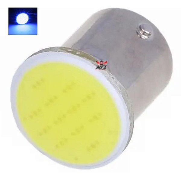 LAMPADA COB LED BA15S 1 POLO P21W 1156 1141 AZUL ESCURO 12V