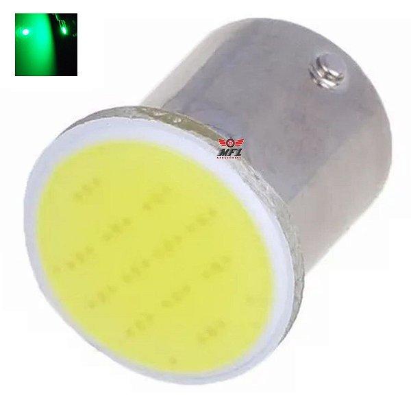 LAMPADA COB LED BA15S 1 POLO P21W 1156 VERDE 12V