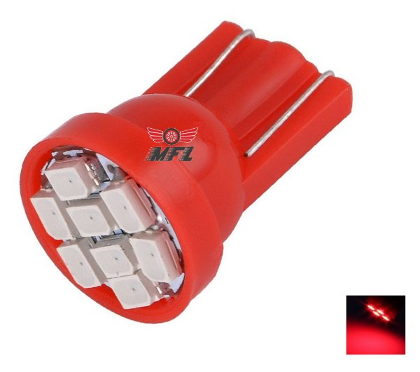 LAMPADA T10 8 LED W5W VERMELHO 12V