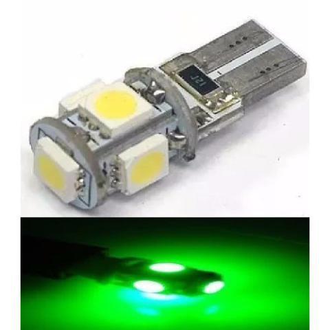 LAMPADA T10 CAMBUS 5 LED CANCELLER W5W VERDE 12V