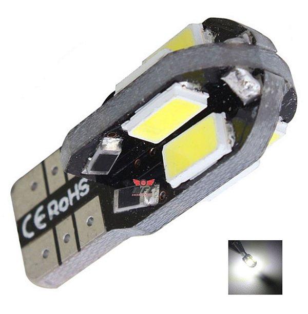 LAMPADA T10 CAMBUS 8 LED CANCELLER W5W CADU BRANCO 12V