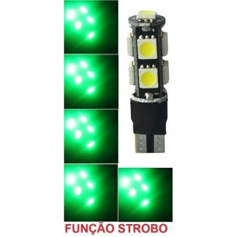 Lampada T10 Cambus Flash Strobo 9 Led W5w Verde 12v