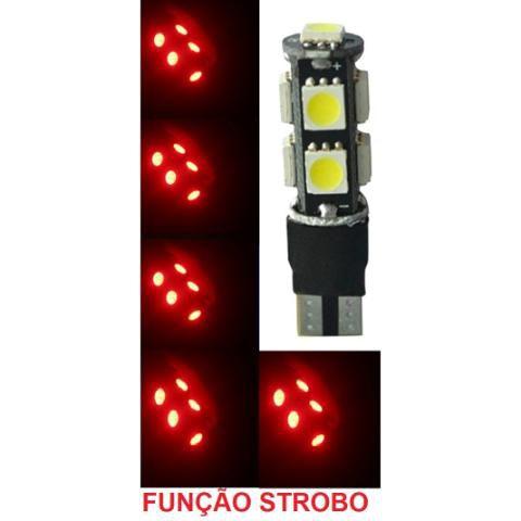Lampada T10 Cambus Flash Strobo 9 Led W5w Vermelho 12v
