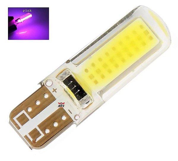 LAMPADA T10 SILICONADA COB LED W5W ROSA PINK 12V