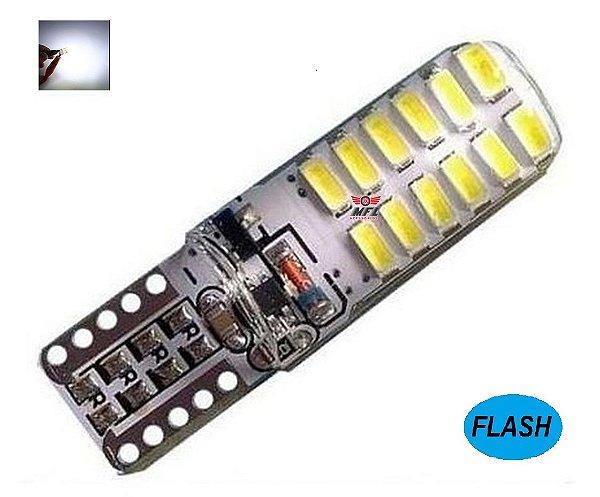 LAMPADA T10 STROBO 24 LED SILICONADA W5W BRANCO 12V