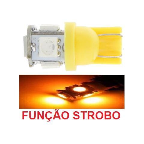 Lampada T10 Strobo E Luz 5 Led W5w Amarelo 12v