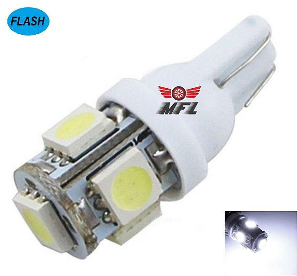 LAMPADA T10 STROBO E LUZ 5 LED W5W BRANCO 12V