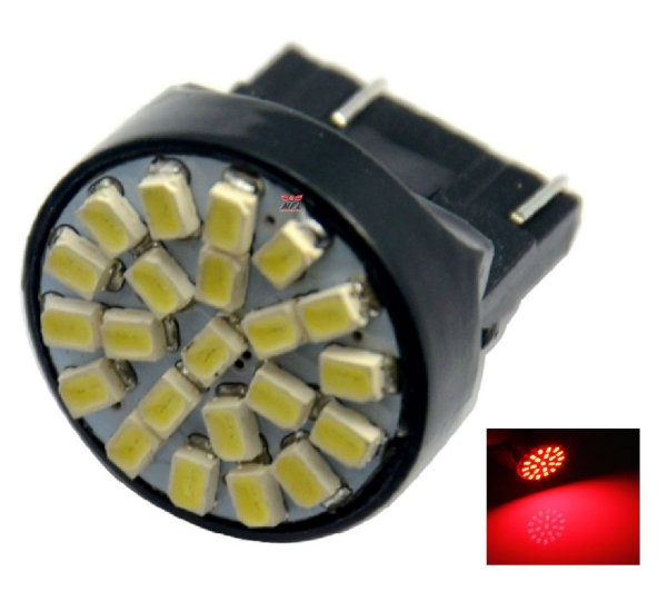 LAMPADA T20 22 LED 1 2 POLO 7440 7443 W21W VERMELHO 12V