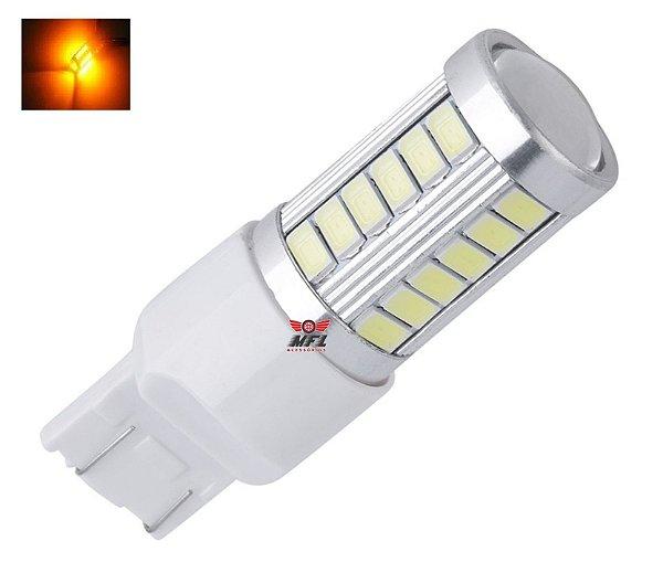 LAMPADA T20 33 LED CREE 1 2 POLO 7440 7443 W21W LARANJA 12V