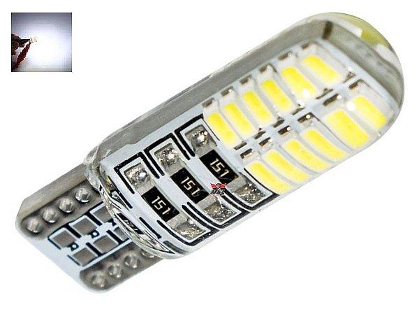 LAMPADA T10 SILICONADA 24 LED W5W BRANCO 12V