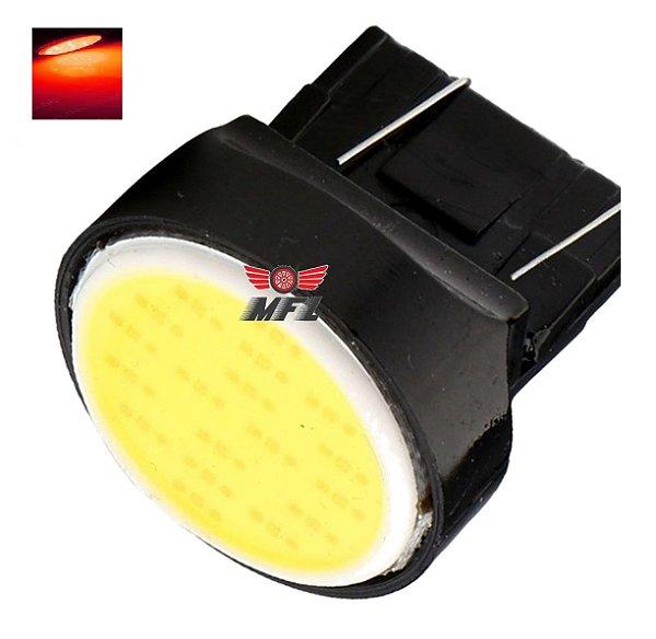 LAMPADA T20 COB LED 1 2 POLO 7440 7443 W21W VERMELHO 12V