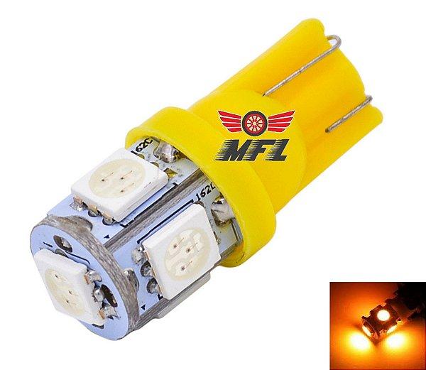 LAMPADA T10 5 LED W5W AMARELO 5050 12V