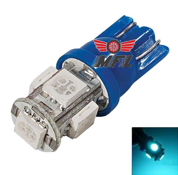LAMPADA T10 5 LED W5W AZUL CRISTAL 5050 12V