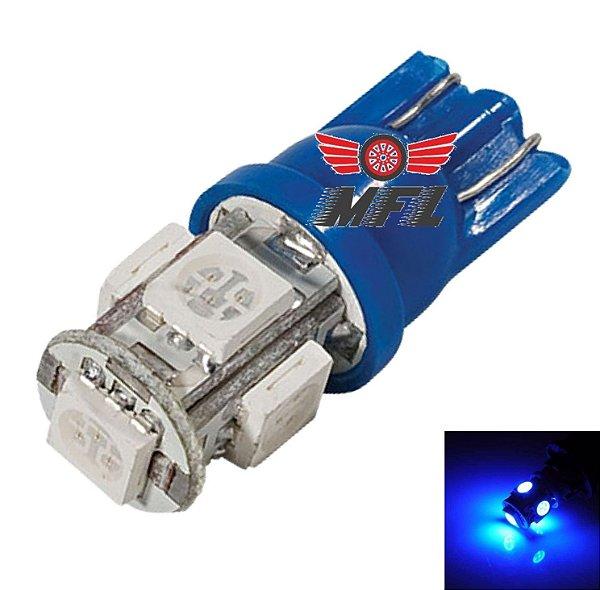 LAMPADA T10 5 LED W5W AZUL ESCURO 5050 12V