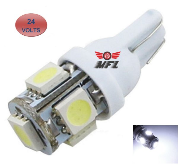 LAMPADA T10 5 LED W5W BRANCO 5050 24V