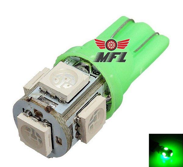 LAMPADA T10 5 LED W5W VERDE 5050 12V