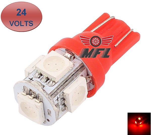 LAMPADA T10 5 LED W5W VERMELHO 5050 24V