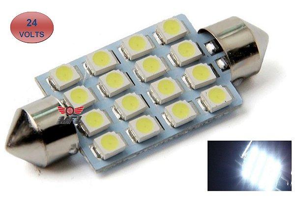 LAMPADA TORPEDO 16 LED C5W 41 MM BRANCO 24V