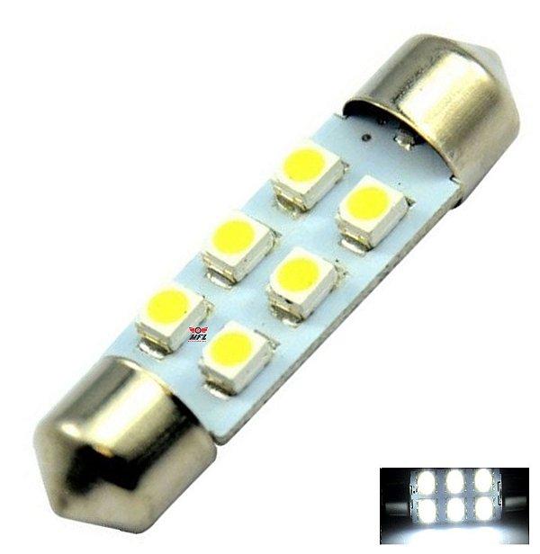 LAMPADA TORPEDO 6 LED C5W 41 MM BRANCO 12V