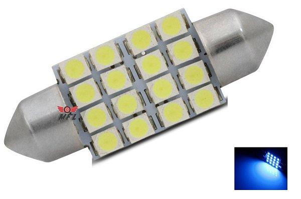 LAMPADA TORPEDO 16 LED C5W 36 MM AZUL 12V