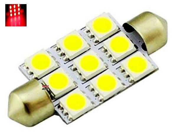 LAMPADA TORPEDO 9 LED C5W 39 MM VERMELHO 12V