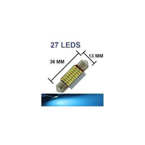 Lampada Torpedo Cambus 27 Led C5w 36 Mm Azul Cristal 12v