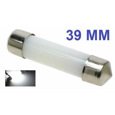 Lampada Torpedo Cob Led Cilindro 39 Mm C5w Branco 12v