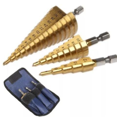 Jogo 3 Broca Escalonada Titanio 3-12 4-20 -32mm
