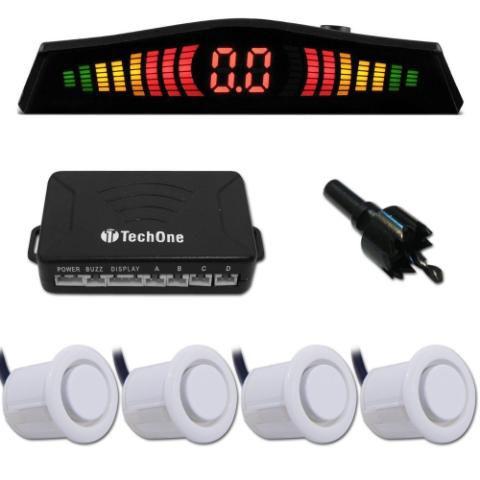 Sensor Estacionamento Ré 4 Sensores Display Branco Tech One