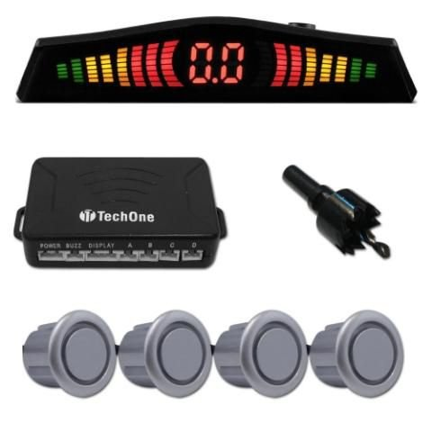 Sensor Estacionamento Ré 4 Sensores Display Prata Tech One