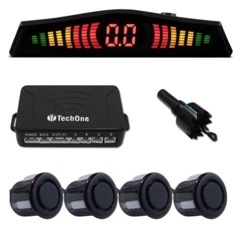 Sensor Estacionamento Ré 4 Sensores Display Preto Brilho Tech One